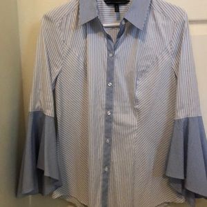 WHBM Button Up Bell Sleeve Blouse